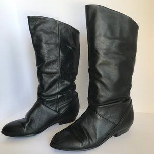 CAPEZIO Black Leather Boots Mid-Calf